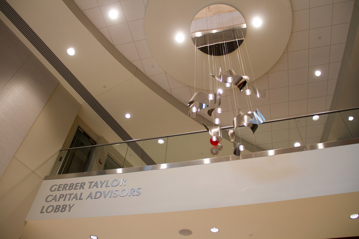 Silver chandelier in Gerber Taylor Capital Advisors lobby